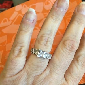Sterling silver and princess cut CZ ring